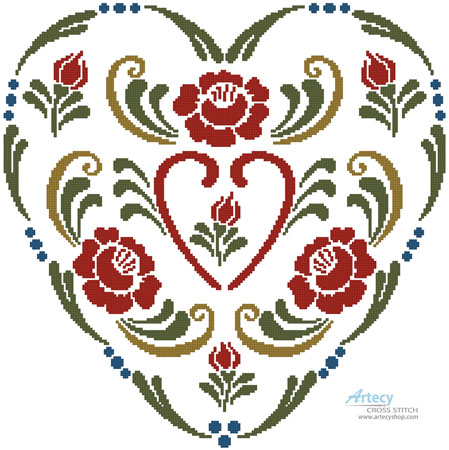 Rosemaling Heart 3 - Cross Stitch Chart