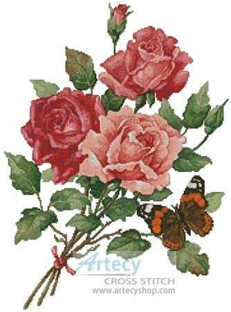 Roses and Butterfly - Cross Stitch Chart