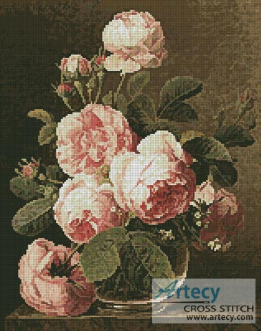 Roses in a glass vase - Cross Stitch Chart
