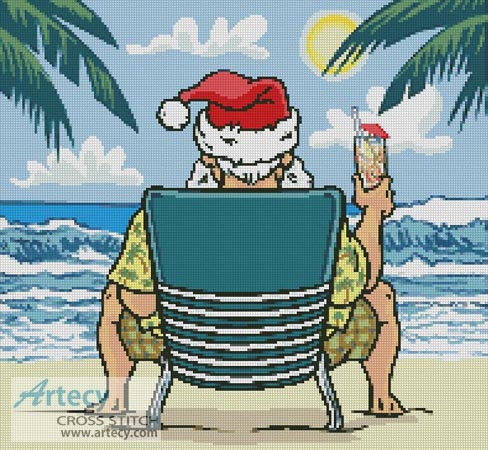 Santa on the Beach - Cross Stitch Chart
