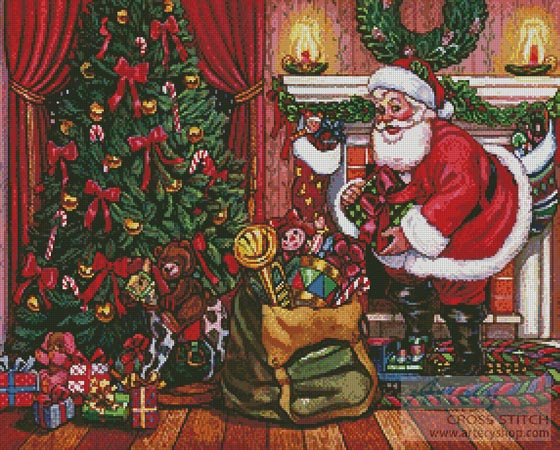Santa on Christmas Eve - Cross Stitch Chart