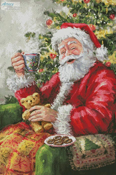 Santa with Cuppa - Cross Stitch Chart