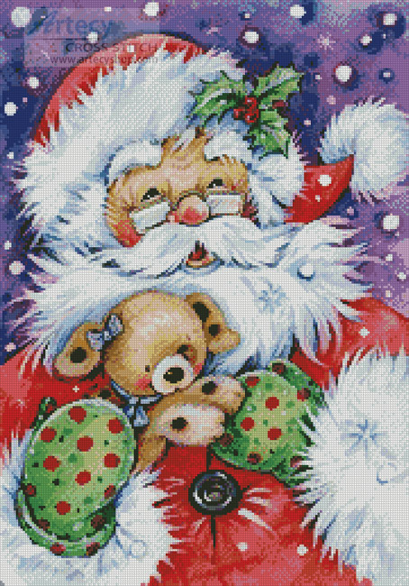 Santa with Puppy - Cross Stitch Chart