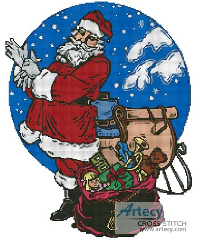 Santa with Sleigh - Cross Stitch Chart