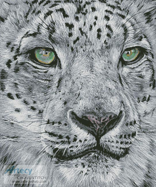 Snow Leopard Portrait - Cross Stitch Chart