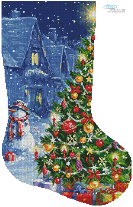 Snowman and Christmas Tree Stocking (Right) - Cross Stitch Chart