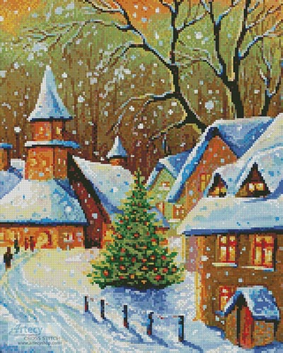 Snowy Village (Crop) - Cross Stitch Chart