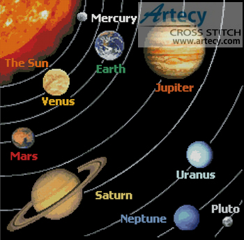 Solar System - Cross Stitch Chart