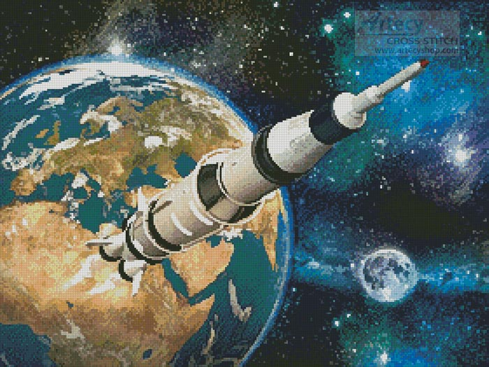 Space Rocket - Cross Stitch Chart