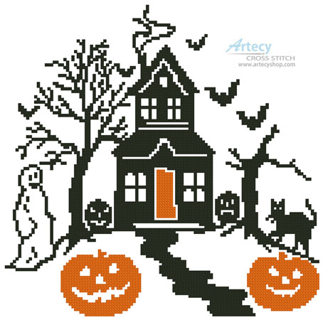 Spooky Halloween House - Cross Stitch Chart