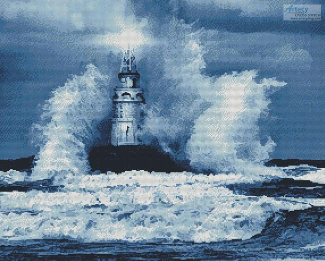 Storm and Lighthouse (Blue) - Cross Stitch Chart