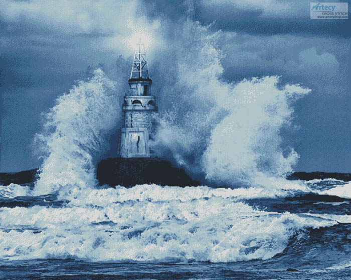Storm and Lighthouse Blue (Large) - Cross Stitch Chart