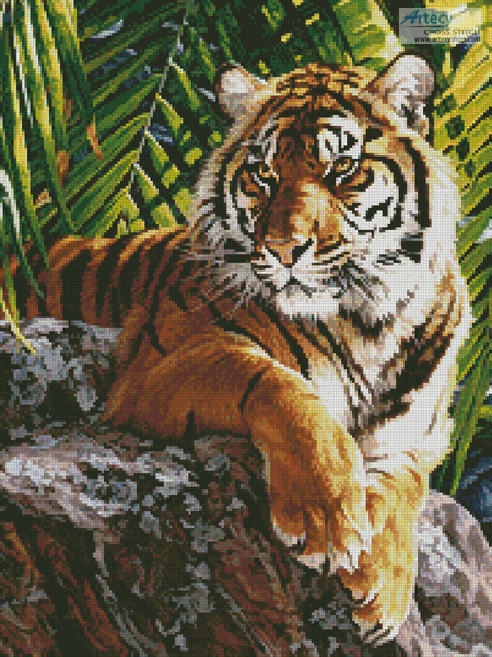 Sumatran Tigress (Crop) - Cross Stitch Chart