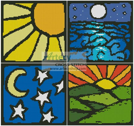 Sun and Moon Sampler - Cross Stitch Chart