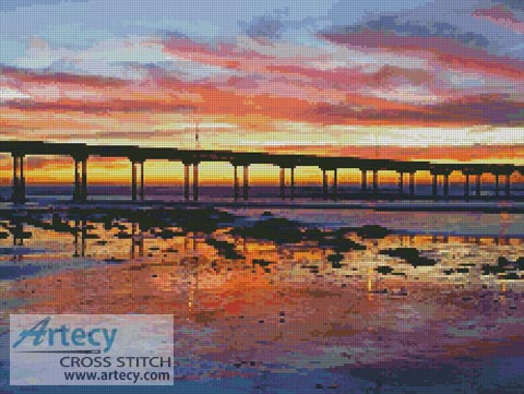 Sunset at Ocean Beach - Cross Stitch Chart