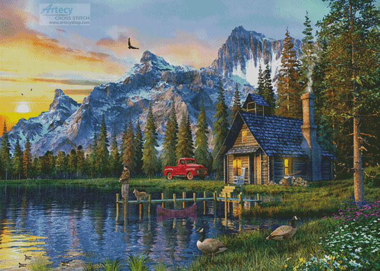 Sunset Log Cabin (Large) - Cross Stitch Chart