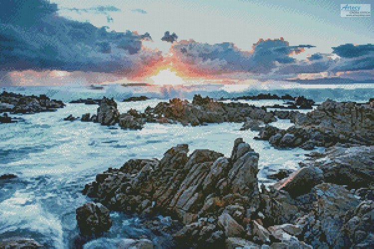 Sunset over Rocks at Gansbaai - Cross Stitch Chart