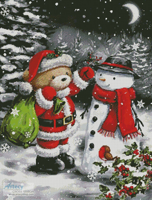 Teddy Santa with Snowman - Cross Stitch Chart