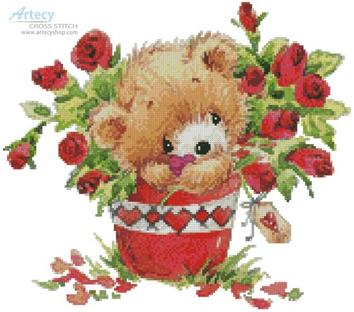 Teddy with Roses - Cross Stitch Chart