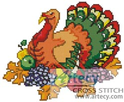 Thanksgiving Turkey - Cross Stitch Chart