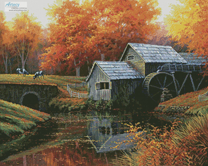 The Old Mill in October - Cross Stitch Chart