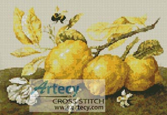 Three lemons with a bumble bee - Cross Stitch Chart
