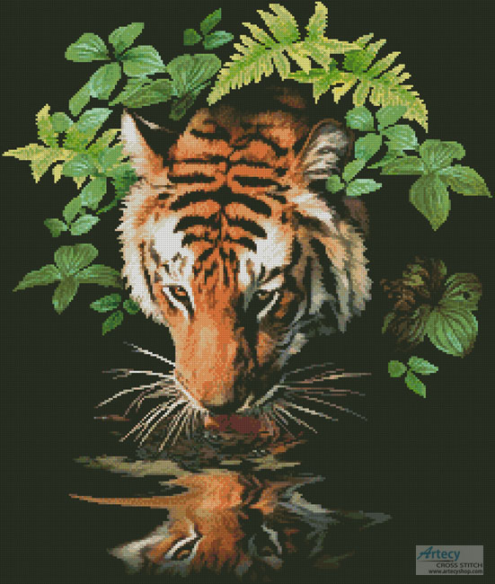 Tiger Reflection - Cross Stitch Chart