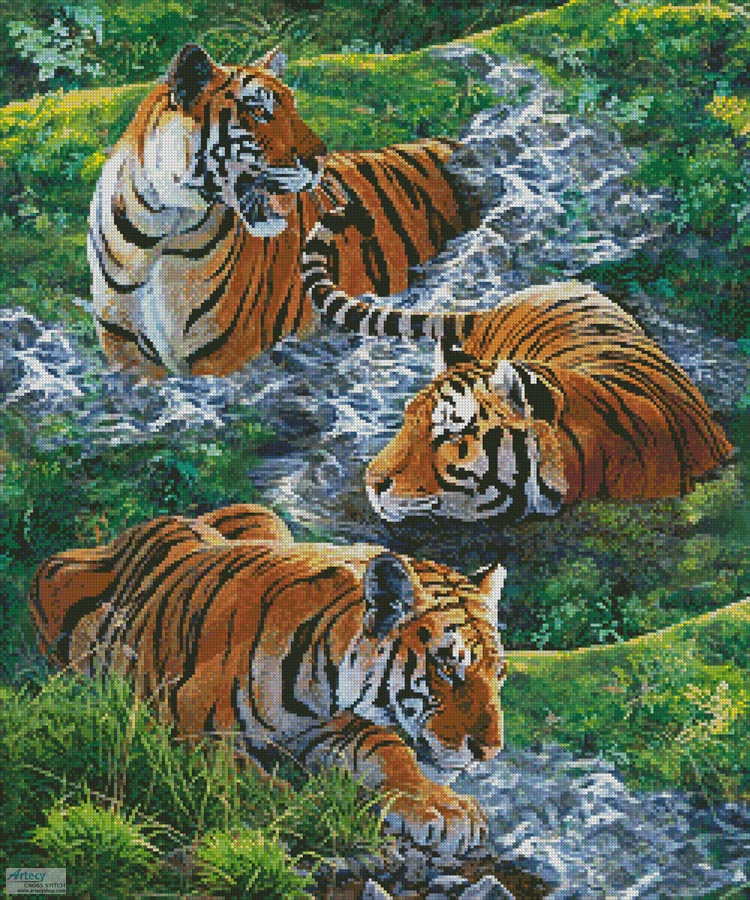 Tigers in Water - Cross Stitch Chart