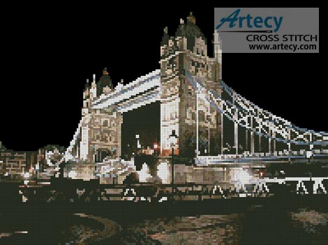 Tower Bridge at Night - Cross Stitch Chart