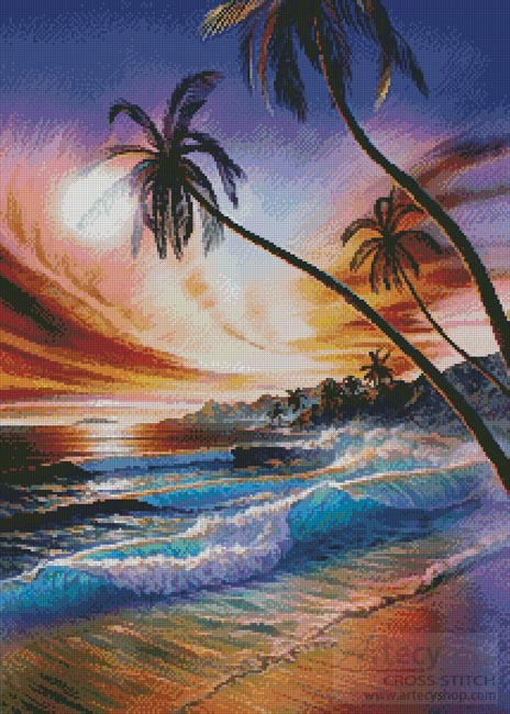 Tropical Beach - Cross Stitch Chart