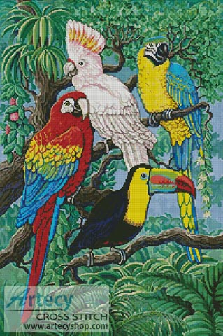 Tropical Birds - Cross Stitch Chart
