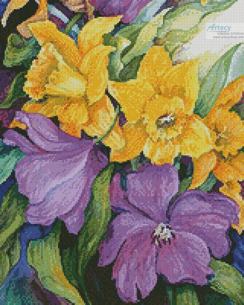 Tulips and Daffodils (Crop) - Cross Stitch Chart