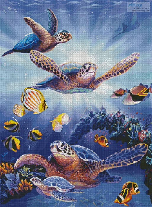 Turtles in Light - Cross Stitch Chart