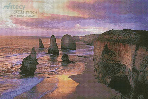 Twelve Apostles Sunset - Cross Stitch Chart