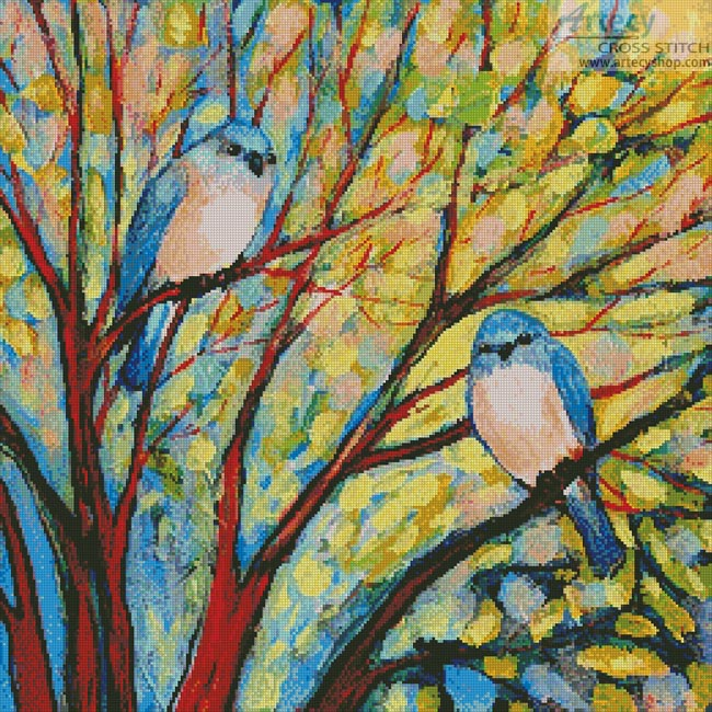 Two Bluebirds - Cross Stitch Chart