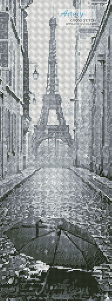 Umbrella in Paris Black and White (Crop) - Cross Stitch Chart
