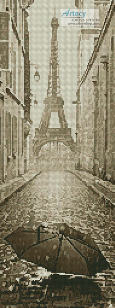 Umbrella in Paris Sepia (Crop) - Cross Stitch Chart