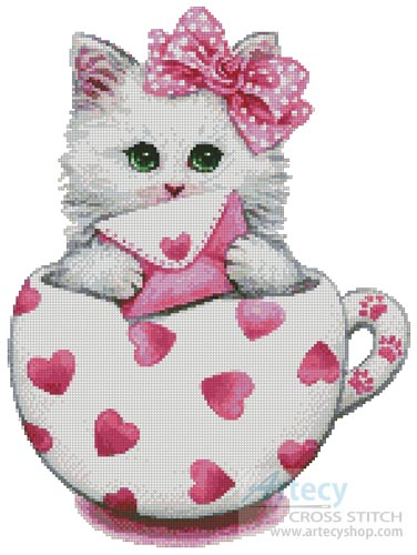 Valentine Kitty Cup - Cross Stitch Chart