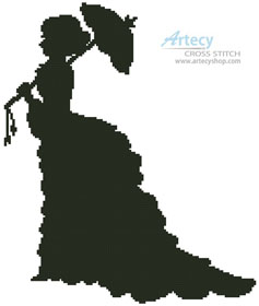 Victorian Lady Silhouette - (Facebook Group) Cross Stitch Chart