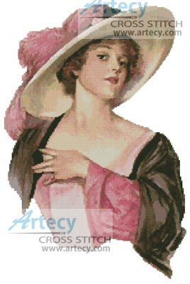 Victorian Pink Hat - Cross Stitch Chart