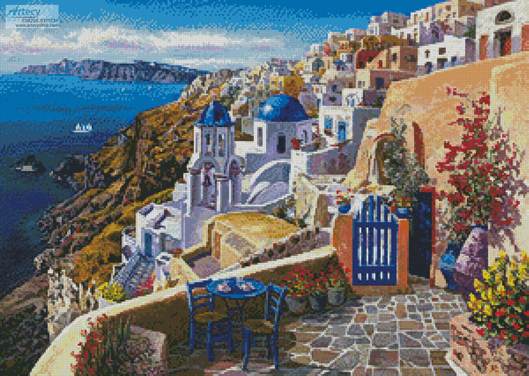 View of Santorini - Cross Stitch Chart