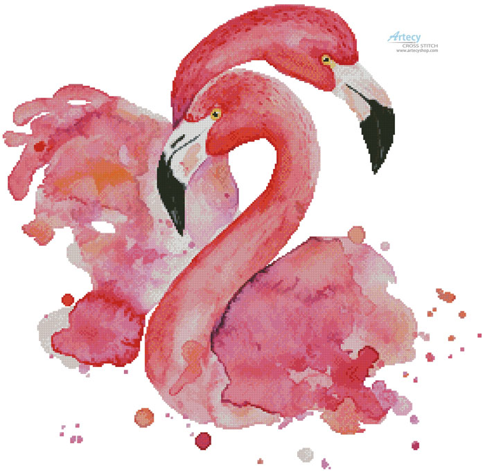 Watercolour Flamingos - Cross Stitch Chart