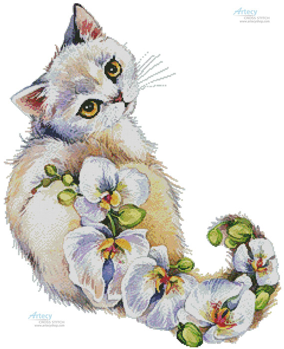 White Orchids Cat - Cross Stitch Chart