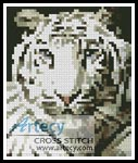 White Tiger Card - Cross Stitch Chart