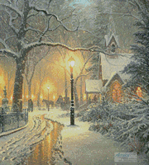 Winter Chapel (Crop) - Cross Stitch Chart