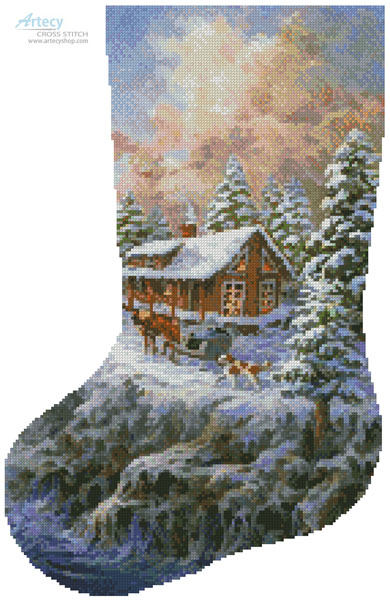 Winter Majesty Stocking (Left) - Cross Stitch Chart