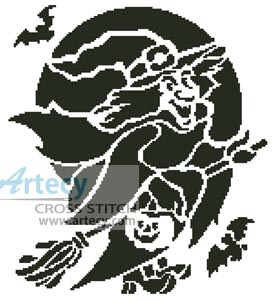 Witch Silhouette - Cross Stitch Chart