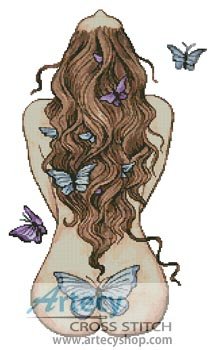 With Butterflies - Cross Stitch Chart