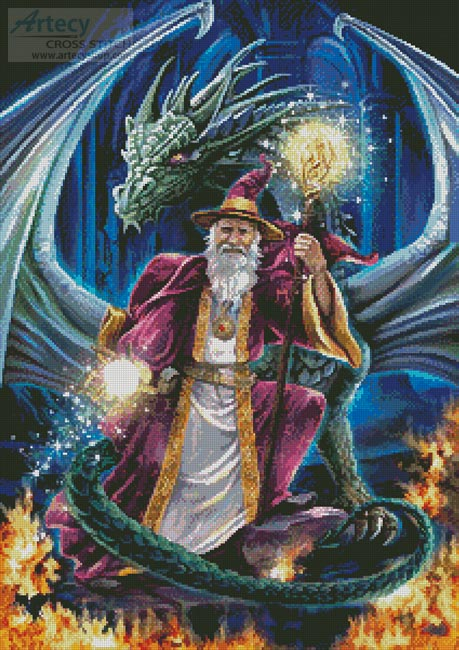 Wizard with Dragon - Cross Stitch Chart