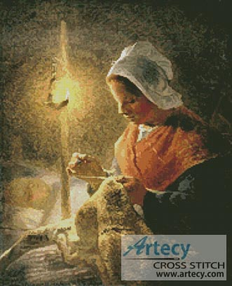 Woman sewing by lamplight - Cross Stitch Chart